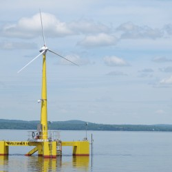 VolturnUS, a wind turbine designed and built at the University of Maine, became the first grid-connected offshore wind turbine in the Americas to provide electricity to the power grid in June.