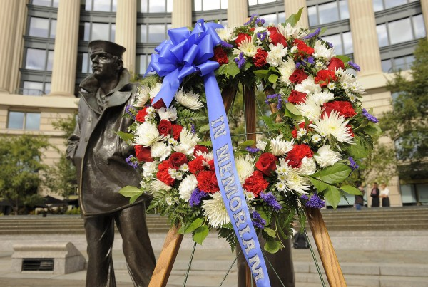 A wreath is seen after a ceremony at the U.S. Navy Memorial on Tuesday in Washington. The ceremony was held for those affected by the mass shooting at the Washington Navy Yard on Monday.