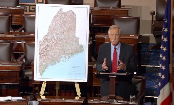 Sen. Angus King added his voice to the climate change debate during a speech on the U.S. Senate floor Tuesday, where he said a northward migration of lobsters looking for colder water could soon devastate Maine's fishery.