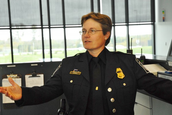 U.S. Customs and Border Protection Port Director Patricia Scull answers questions during a tour of the new port of entry in Van Buren on Thursday.