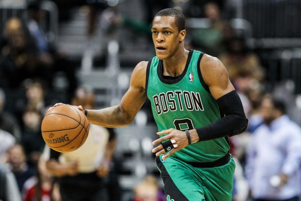 Boston Celtics point guard Rajon Rondo takes the ball down the court in the first quarter against the Atlanta Hawks during a game on Jan. 23.