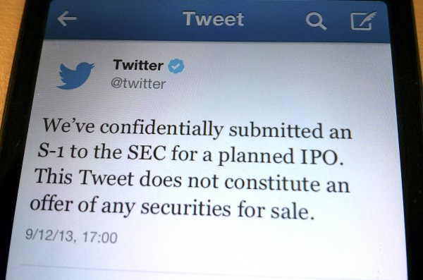 A tweet from Twitter Inc. announcing its initial public offering is shown in this photo illustration in Toronto, September 12, 2013. Twitter Inc has filed confidentially for an initial public offering, the company said on Thursday, taking the first step toward what would be Silicon Valley's most anticipated debut since Facebook Inc.'s last year.