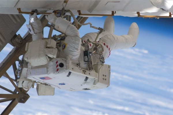 Astronaut Christopher Cassidy participates in Endeavour's third space walk of a scheduled five overall for this 2009 operation. This was Cassidy's first of a scheduled three sessions for him.