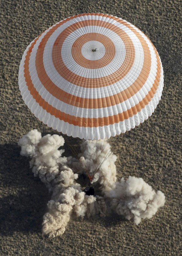 The Soyuz TMA-08M spacecraft carrying Russian cosmonauts Pavel Vinogradov and Alexander Misurkin and NASA astronaut Chris Cassidy lands in a remote area near the town of Zhezkazgan, Kazakhstan, Sept. 11, 2013.
