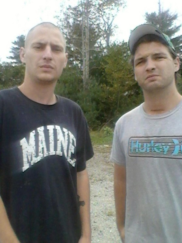 Searsport resident Kirt Damon Jr. (right), 24, who reportedly was stabbed twice during an incident Sunday in Corinth, stands with friend Zachary Joseph, 21, of Belfast.