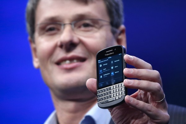 Research in Motion (RIM) President and CEO Thorsten Heins introduces a new RIM Blackberry 10 device during the launch in New York on Jan. 30, 2013.  Blackberry Ltd. is preparing a round of deep staff cuts by the end of 2013 and could lay off as much as 40 percent of its employees, the Wall Street Journal cited people familiar with the matter as saying on Wednesday.