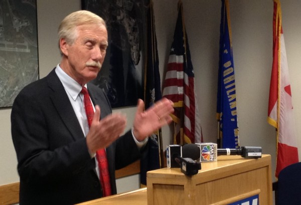 U.S. Sen. Angus King, I-Maine, speaks with reporters Wednesday at the Portland Jetport.