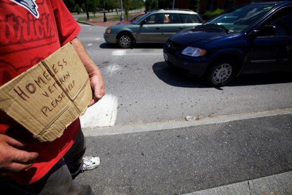 Mike, who refused to give a last name, panhandles at the corner of Somerset and Franklin Streets in Portland Monday. If the city council votes to ban panhandling on city median strips he said, &quotI'€™ll just stand on the corner,&quot nodding his head toward the nearby sidewalk.