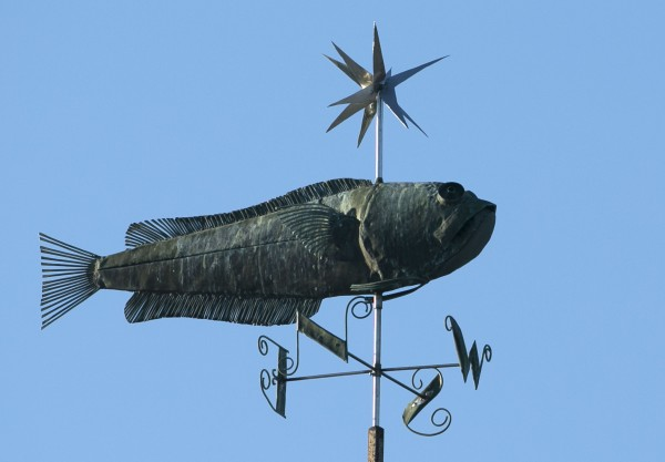 A weather vane at Maine Maritime Academy in Castine.