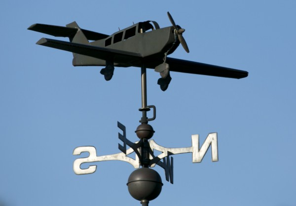A propeller airplane weather vane in Castine.