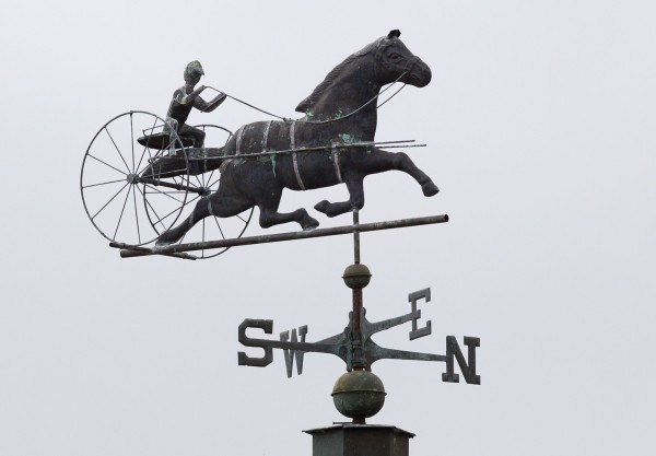 A harness racer weather vane at the Windsor Fairgrounds in Windsor.