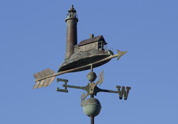 A lighthouse weather vane at Camp Ellis in Saco.