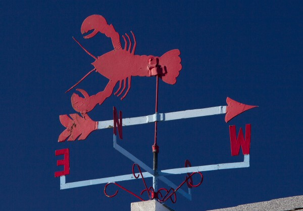 A lobster weather vane at Camp Ellis in Saco.