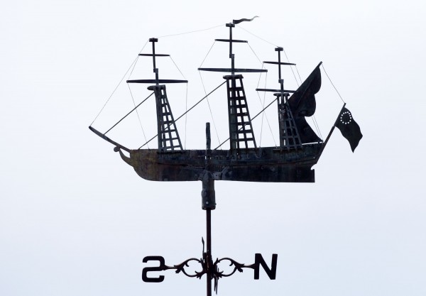 A three-masted ship weather vane in Wiscasset.