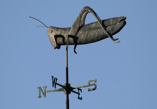 A grasshopper weather vane at a branch of Mercy Hospital in Yarmouth.