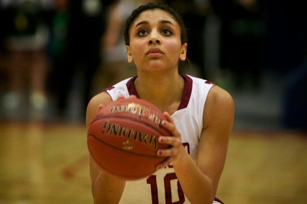 Bangor High's Denae Johnson takes a free throw in the Class A state final last March in Augusta. Johnson has transferred from the University of Southern Maine to Husson.