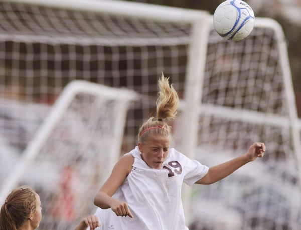 Vicki Goodwin (19), who has taken over the duties as Orono's goalkeeper this season, backstopped the Red Riots to a 2-0 girls soccer victory over Old Town on Wednesday.