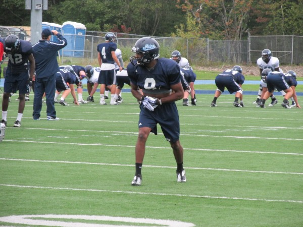 UMaine wide receiver Derrick Johnson lines up to run a play during a recent practice at Alfond Stadium in Orono. The senior is the Black Bears' leading pass-catcher.