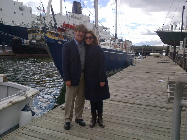 Television journalist Geraldo Rivera and his wife, Erica Levy, stand on a dock at Maine Maritime Academy in Castine on Wednesday, Sept. 25, 2013. Behind them is their sailboat Voyager and, in the distance, the MMA training ship State of Maine. Rivera and his wife donated their sailboat to MMA this month for use as a training vessel.