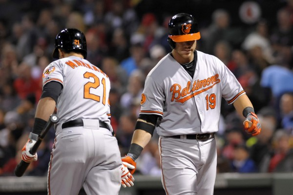 Baltimore's Nick Markakis (21) congratulates Chris Davis (19) after Davis hit a home run during the sixth inning against the Boston Red Sox at Fenway Park in Boston Tuesday night.