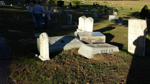 Spear family headstones were damaged Friday, reportedly after a mother and a daughter got into a fight with their vehicles at the Monmouth Ridge Cemetery.