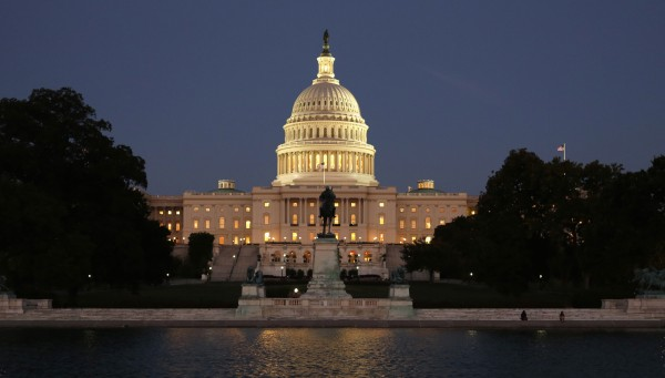 The U.S. Capitol is seen at night on the eve of a potential federal government shutdown, in Washington on Monday, Sept. 30.  As many as a million government employees were making urgent plans on Monday for a possible midnight shutdown, with their unions urging Congress to strike a last-minute deal.