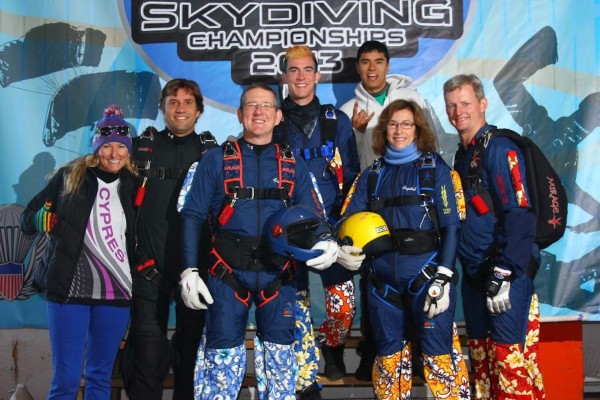 Fred, Crystal & Nate Olsen of Albion with their teammates at the National Skydiving Championship where they placed 34th.