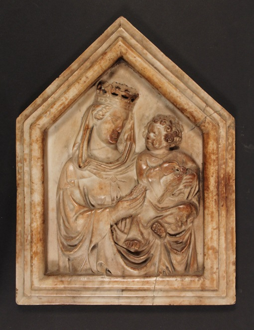 15th Century Italian Carrera marble bas relief depicting Madonna and Child, that sold for $109,250
