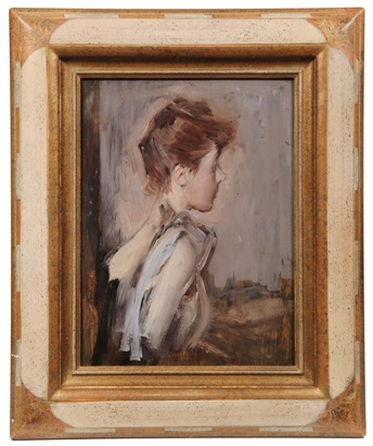 1889 oil on panel study, 'Contessa de Luesse nata Berthier', by Giovanni Boldini (IT/FR, 1842-1931), that sold for $126,500