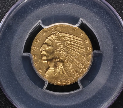 1909-O $5 Gold Indian Head coins that brought $17,825 at Thomaston Place Auction Galleries Rare Coin & Toy Auction on September 19