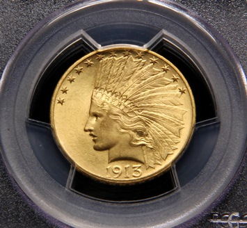 1913 $10 Gold Indian Head coin that sold for $10,350 at Thomaston Place Auction Galleries on September 19, 2013