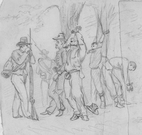 An Alfred Waud sketch depicts the severe punishment meted to drunken Union soldiers. Under the watchful eyes of three guards, the malefactors stand tied to a tree and gagged with 17-inch bayonets. A 17th Maine Infantry captain, Charles Mattocks, similarly punished a uniformed thug and a swindling sailor while on a cruise from Boston to Virginia in September 1863; in both cases, the men were tied in the ship's rigging.