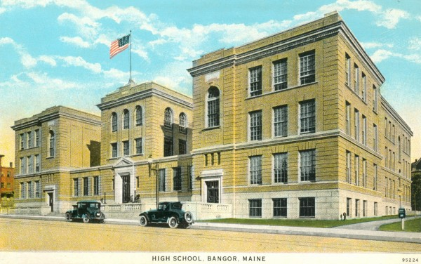 The new Bangor High School opened on Harlow Street in 1913. Today it is an apartment and office building.