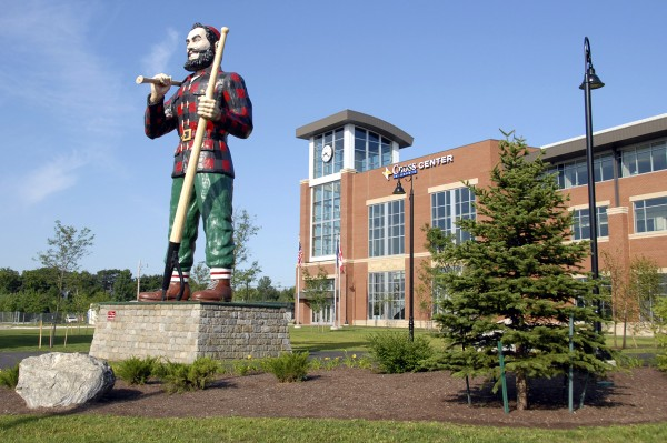 Recalling Bangor's heyday as a lumber port, the Paul Bunyan statue stands near the Southeast Entry of the new Cross Insurance Center.