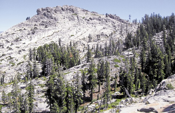 Donner Peak rises high in California's Sierra Nevada Mountains.