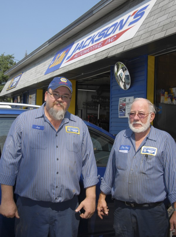 At Jackson's Automotive Inc., 546 Main St., Manager Joe Emerson (left) and owner Burns &quotPee Wee&quot Avery oversee the service facility's extensive automotive repair work.