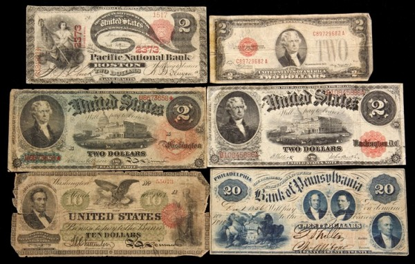 Lot of 6 early currency notes that brought $4,485 at Thomaston Place Auction Galleries Rare Coin & Toy auction on September 19