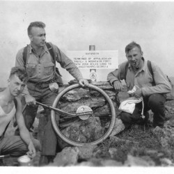 Trailblazers, Albert H. Jackman, Myron H. Avery and J. Frank Schairer on Katahdin's summit, August 19, 1933