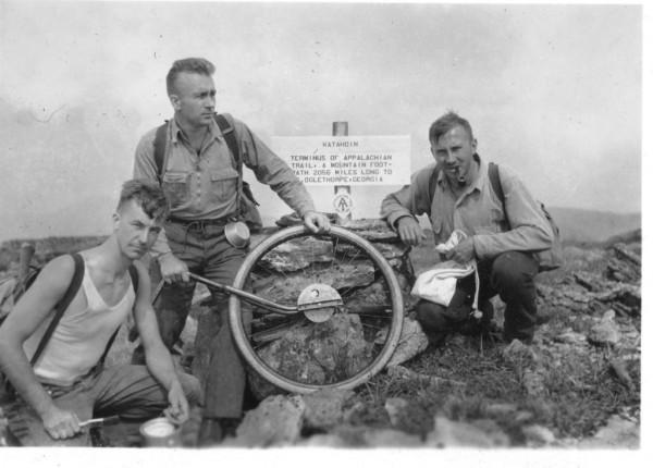 Trailblazers, Albert H. Jackman, Myron H. Avery and J. Frank Schairer on Katahdin's summit, August 19, 1933