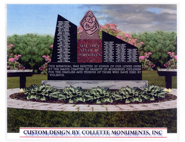 The designer's rendition of the Maine Murder Victims' Memorial Monument.