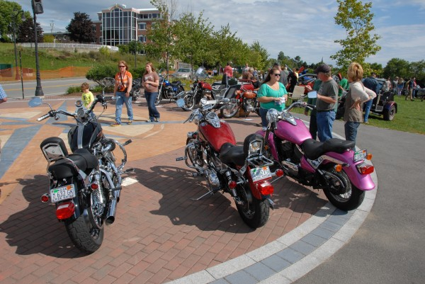 Motorcycles were displayed Sept. 7 at the Bangor Waterfront Park's compass rose as part of the Sixth Annual Bangor Car Show.
