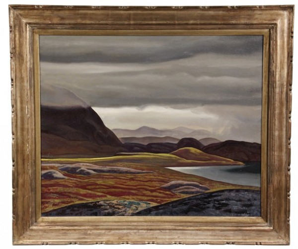 Oil on canvas painting, 'West Greenland Landscape, 1929' by Rockwell Kent (NY, 1882-1971), top lot at Thomaston Place Auction Galleries on August 24