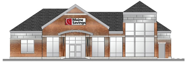 This is an artist's rendering of the 3,500-square-foot branch that Maine Savings Federal Credit Union is building at the corner of College and Stillwater avenues in Old Town.