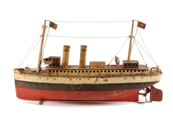German made toy tin boat, the U.S. Ocean Liner 'George Washington' by Marklin, that sold for $3,450 at Thomaston Place Auction Galleries on September 19.
