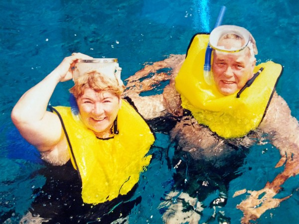 Gary and Monica Crabtree snorkel on a cruise trip an undated photograph. Monica Crabtree died at age 64 after one of her arteries was torn in a stent procedure that led to infection, according to her widower.