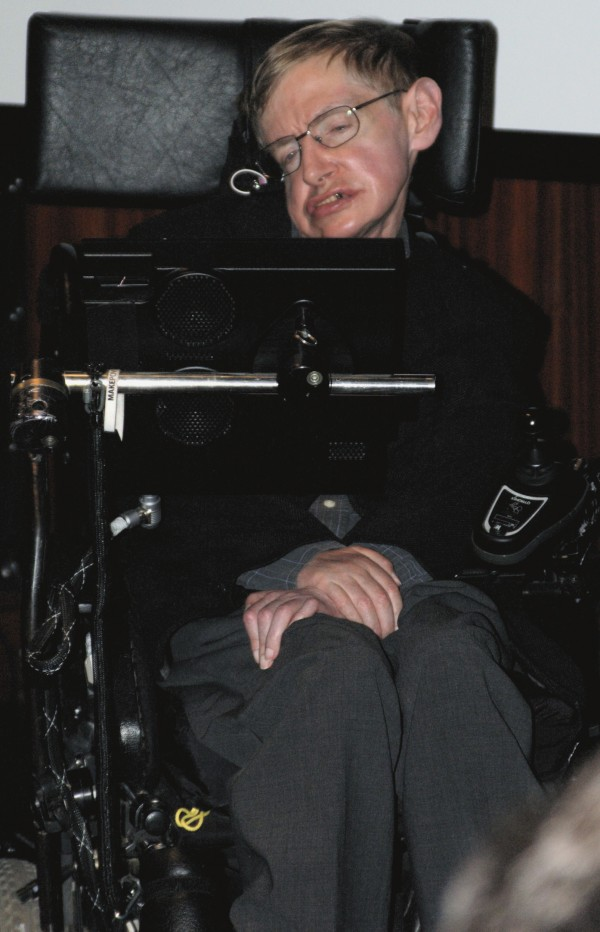 Stephen Hawking during the press conference at the National Library of France to inaugurate the Laboratory of Astronomy and Particles in Paris and the French release of his work &quotGod Created the Integers.&quot