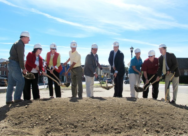 Town of Orono officials and University Credit Union (UCU) team members break ground on the new UCU headquarters at the corner of Bennoch and Main Street in Orono on Friday, Sept. 6.