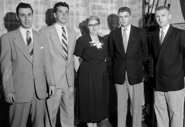 Elected on Monday, May 11, 1953 as new officers of Sigma Alpha Epsilon, social fraternity at the Unversity of Maine, are (from left) Donald Poulin, Biddeford, treasurer; Winship Moody, Gorham, president; Mrs. Charlotte Gradie, Bangor, house mother; Joseph Kneeland, Bethel, vice president; and Rodney Moulton, Biddeford, secretary.