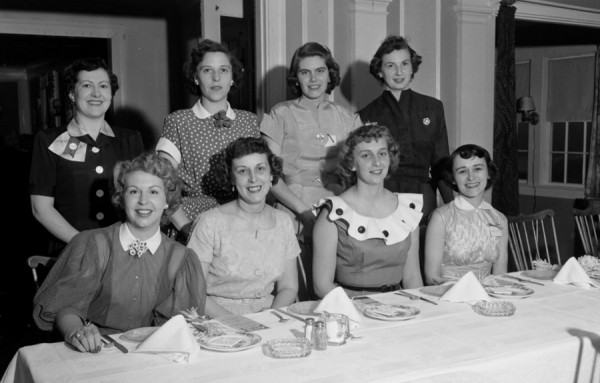 Officers of the Bangor Jaycees Wives assumed office Tuesday night, May 12, 1953 at a banquet meeting held at Lucerne Inn. New officers are (front, from left) Mrs. Nat Diamond, first vice president; Mrs. Frederick Kaide 3rd, retiring president, and Mrs. Danforth West, second vice president; and (rear, from left) Mrs. Philip Veilleux and Mrs. Earl Mullen, directors; Mrs. Galen Cole, secretary; and Mrs. John Freese, treasurer.