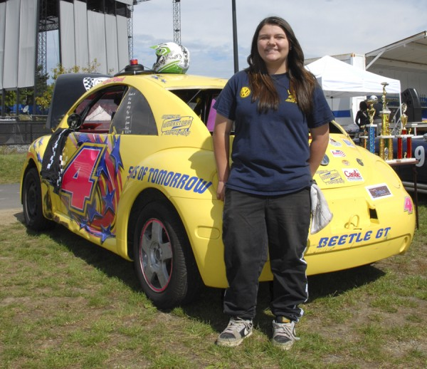 Lexi Roach, a 13-year-old eighth grader at Brewer Community School, raced with her 1999 Volkswagen Beetle in the Ladies Division at Speedway 95 this summer. She is the daughter of Pete and Pam Roach.